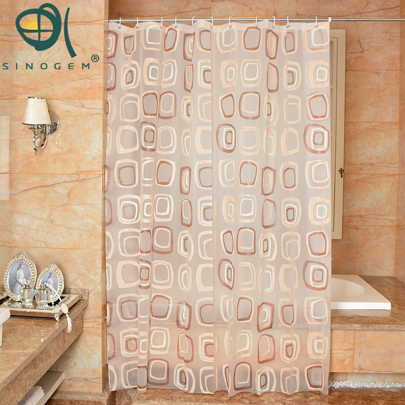 Sinogem Classic Modern Plaid Pattern Thick Waterproof Shower Curtain Bathroom Mold Resistant