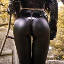 Черные кожаные брюки для женщин с эффектом потертости, с эффектом пуш-ап, в стиле пэчворк, узкие брюки-карандаш, женские длинные узкие брюки из искусственной кожи на весну и осень, уличные брюки