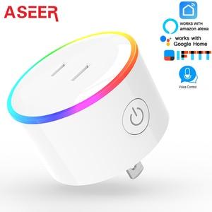 Image 4 - ASEER Tuya 스마트 라이프 플러그 소켓, EU wifi 전원 소켓, RGB LED 장면 모드 미국 미니 wifi 콘센트, 타이머 소켓 Alexa Google IFTTT