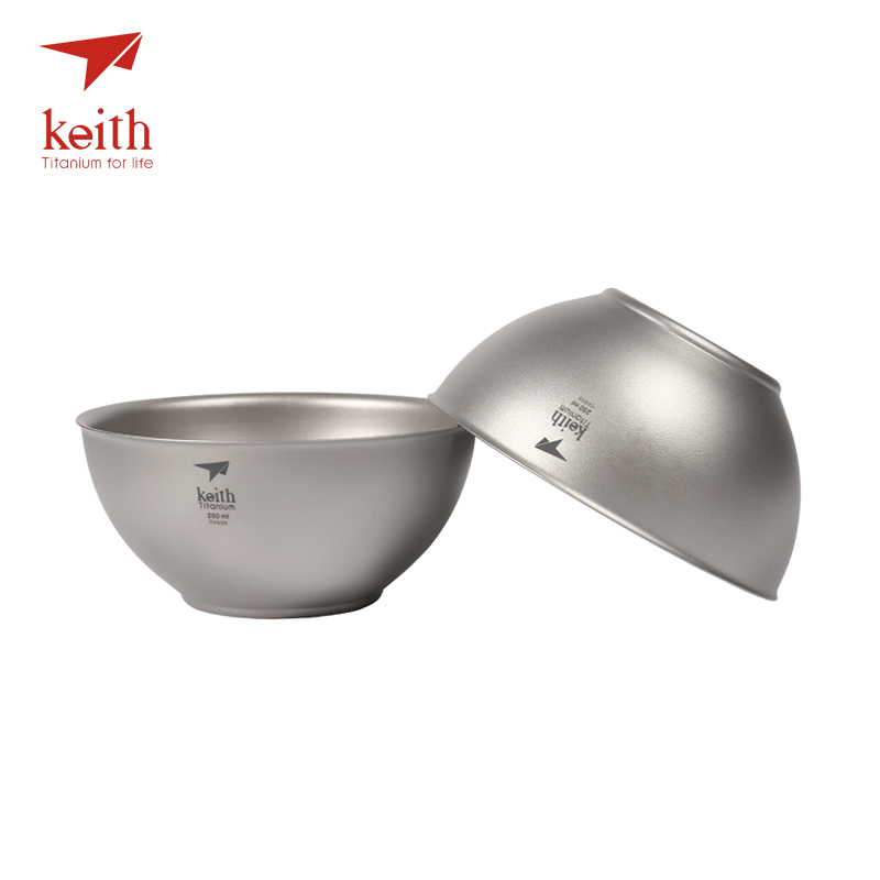 Keith Titanium 250ml Bowls Set Ultralight Camping Portable Travel Tableware Double Wall Pure Titanium Bowls 2
