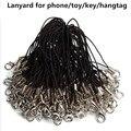 50 unids/lote Negro Lariat Correa de Cordón Cordones de Teléfono Móvil Celular Móvil de Mosquetón 0HIR mano cinta para la muñeca correa de cordón móvil