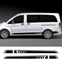 2PCS/Lot Car Door Side Skirt Stripe Stickers For Mercedes Benz Vito Viano Valente Metris V Class W447 W639 V260 Auto Accessories
