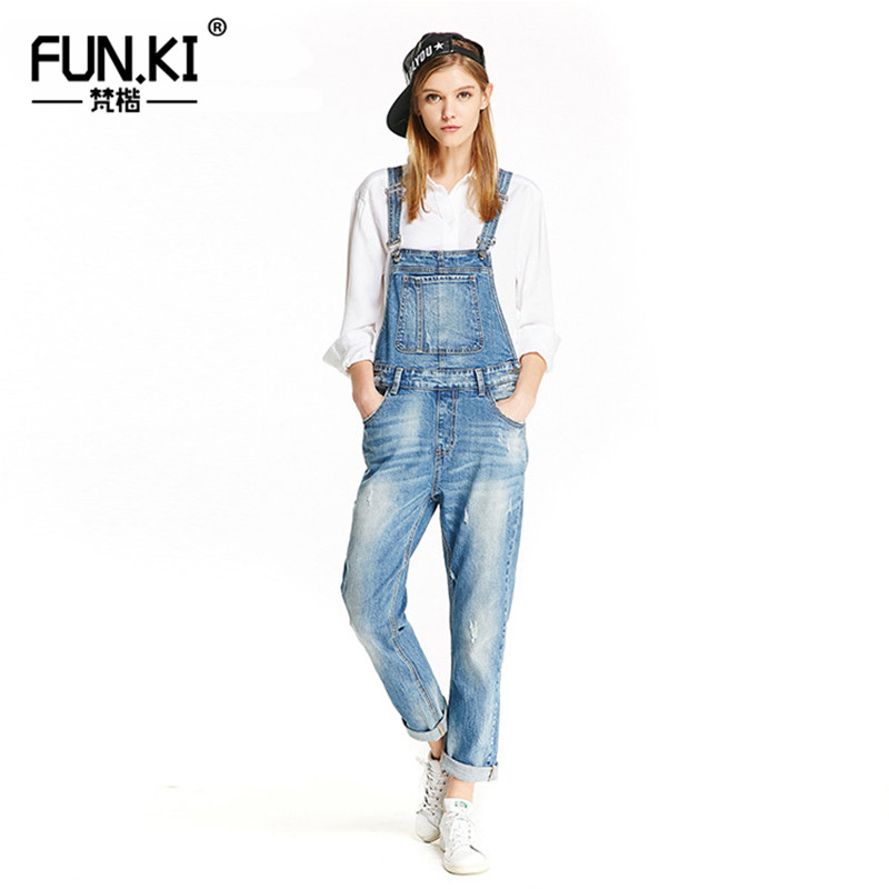 dfc7b567ff7d FUNKI Women Jeans Jumpsuit Casua Denim Overalls 2018 Spring Autumn Strap  Ripped Scratched Pockets Full Length Clothing