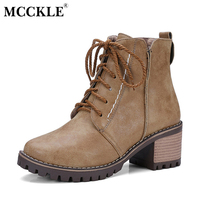 MCCKLE Women's Fashion Oxford Winter Warm Plush Lace Up Zip Ankle Boots Female Thick Heel Platform Classic Plus Size Shoes