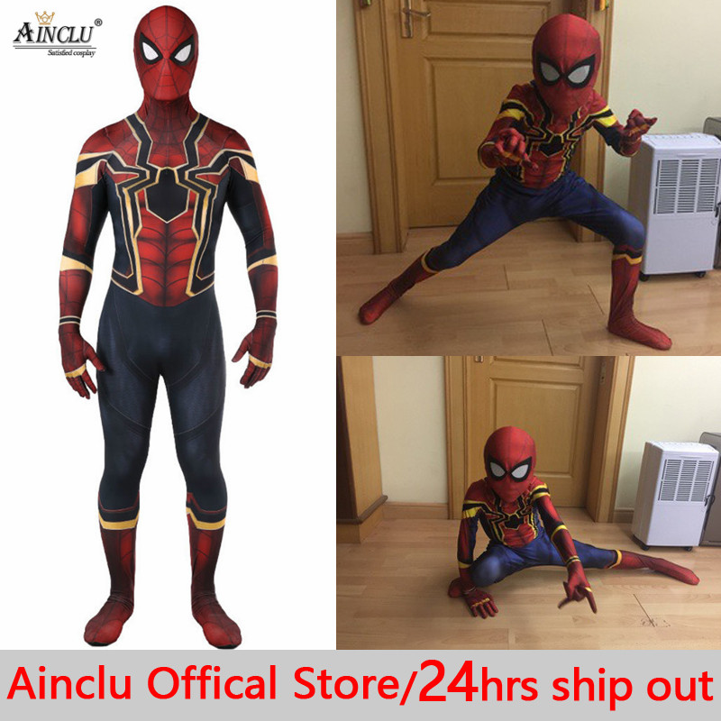 Avengers COS Spiderman Homecoming Cosplay Costume Zentai Lycra Kids Spider Man Superhero Bodysuit Suit Jumpsuits for Halloween