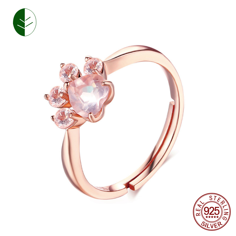 925 Silver Bear Paw Cat Paw Open Adjustable Ring Rose Gold Dog Paw Rings for Women Wedding Pink Crystal CZ Cat Lovers Gift ZK30 cat paw style white light 2 led flashlight keychain w meow sound effect black pink 3 x ag10