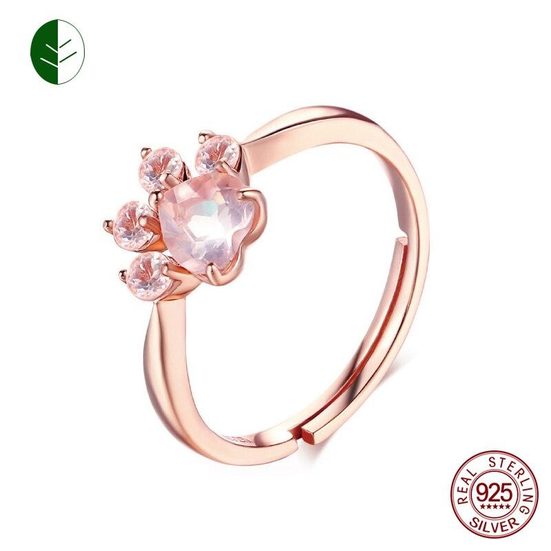 925 Silber Katze Barentatze Pfote Offenen Einstellbare Ring Rose