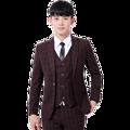 2017 Men grid print high-grade brand fashion wedding dress suits Men boutique slim formal business Blaze Suits(Vest+suit+pants)