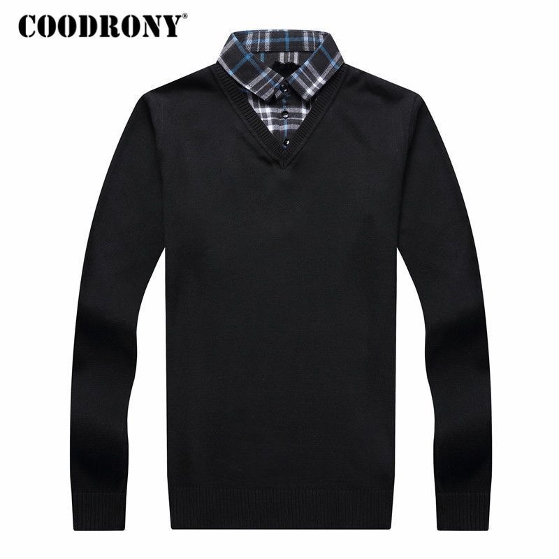 COODRONY Sweater Men Autumn Winter Thick Warm Wool Sweaters Casual Twinset Two-Piece Dress Pullover Men Cotton Jersey Hombre 120