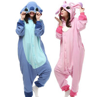 Pink Blue Animal Stitch Pajamas Onesie For Adults Women Hooded Fleece Pijamas Mujer Sell Best Online LTY1