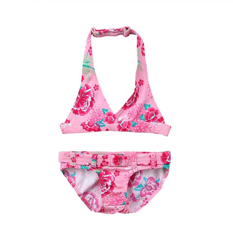 Cute Girls Bikini Set New Kid Baby Girl Pink Floral Printed Bikini Childrens Backless Swimwear Swimsuit Bathing Suit Beachwear