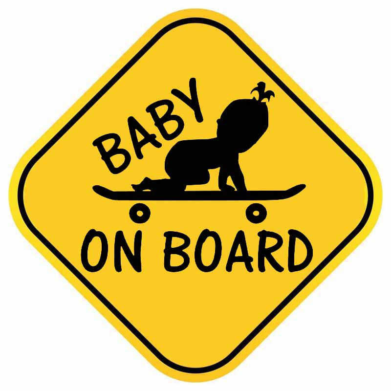 YJZT 14.8CM*14.8CM BABY ON BOARD PVC Baby Skateboard Decal Car Sticker 12-40372