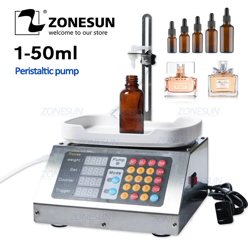 ZONESUN 0 50ml Small Automatic CNC Liquid Filling Machine 110V 220V Perfume Weighing Filling Machine Oral