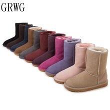 769b03f825 GRWG Real Lã De Alta Botas 2018 Genuína Botas de pele de Carneiro Da Moda  Sapatos das Mulheres Botas de Inverno Pele Natural par.