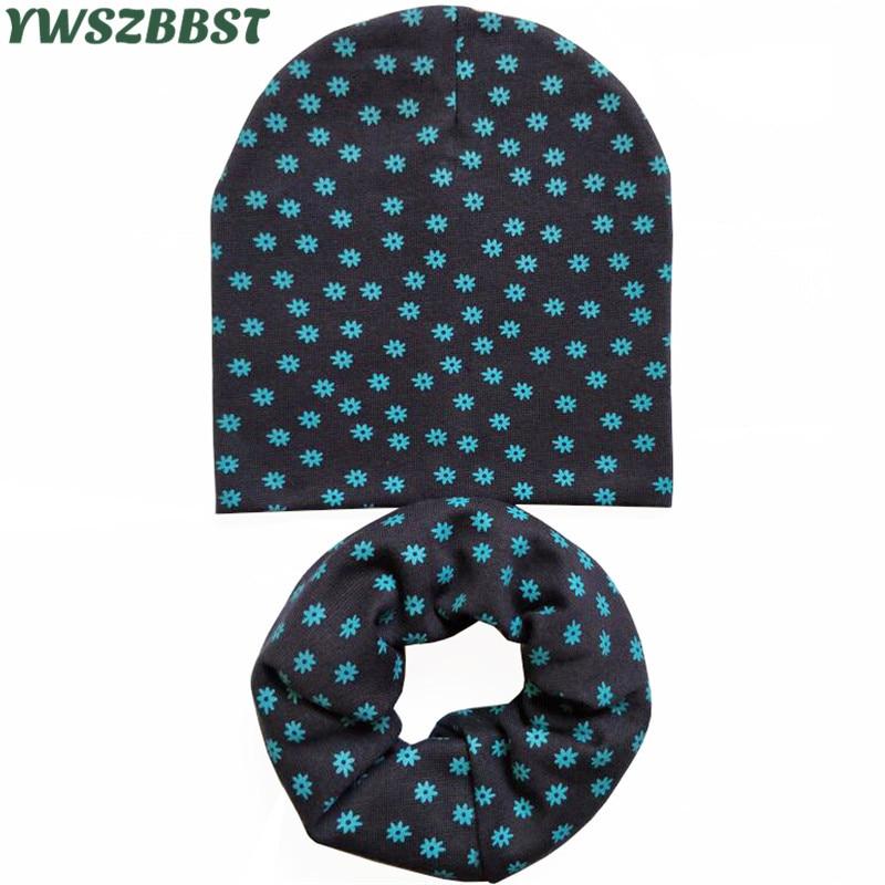 New Spring Baby Hat Set Boys Girls Neck Scarf Autumn Winter Warm Neckerchief Kids Beanies Sets Cotton Children Hat Scarf