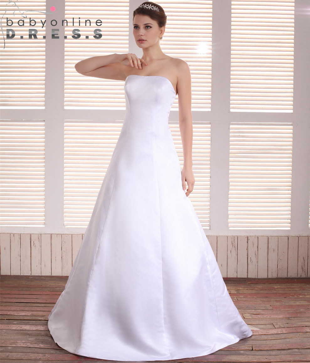 Online get cheap simple strapless wedding dresses for Simple strapless wedding dress