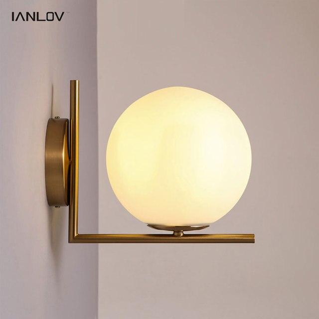 Modern Glass Ball Wall Lights For Bedroom Bedside LED Sconce Bulbs ...