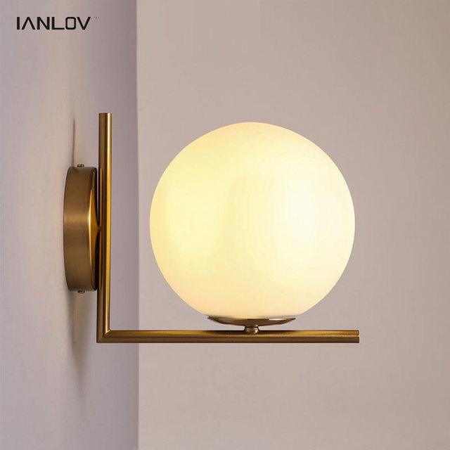 Sfera di vetro moderno parete per camera da letto comodino con applique led lampadine lampada - Applique led per camera da letto ...