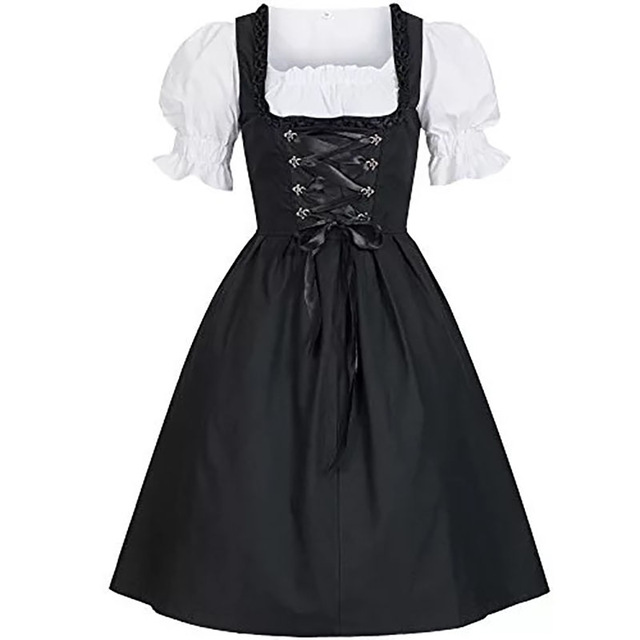 Adult Women Oktoberfest Costume Black Dirndl Cut Out Dress Puff Sleeves Back Bow Lacing Up Biergarten Clothing For Ladies 5XL