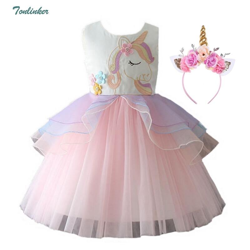Girls Princess Unicorn Costumes For Kids Flower Ball Gown Tutu Dress Cosplay Unicornio Costume Vestido Children Carnivls Costume