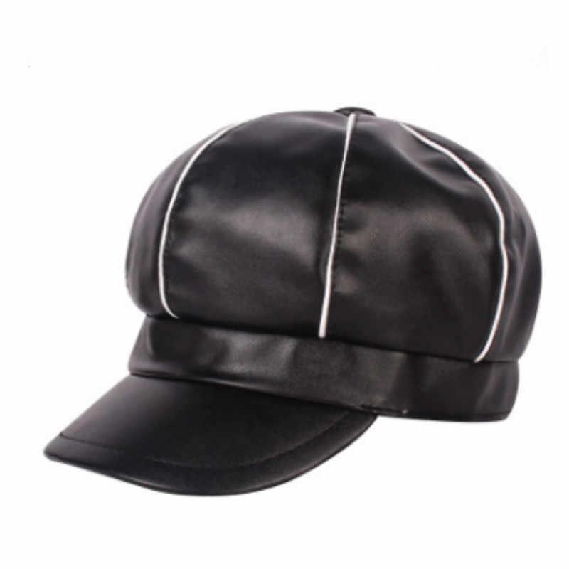Женская зимняя шапка из искусственной кожи, модная Женская Берет из искусственной кожи, винтажная восьмиугольная шляпа, Осенний французский стильный берет, ретро кепка газетчика