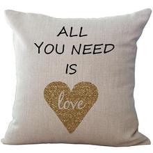 New Design Valentine\u0027s Day Present Couple Love Cotton Linen Home Furnishing Pillow Case Backrest Pillowcase(