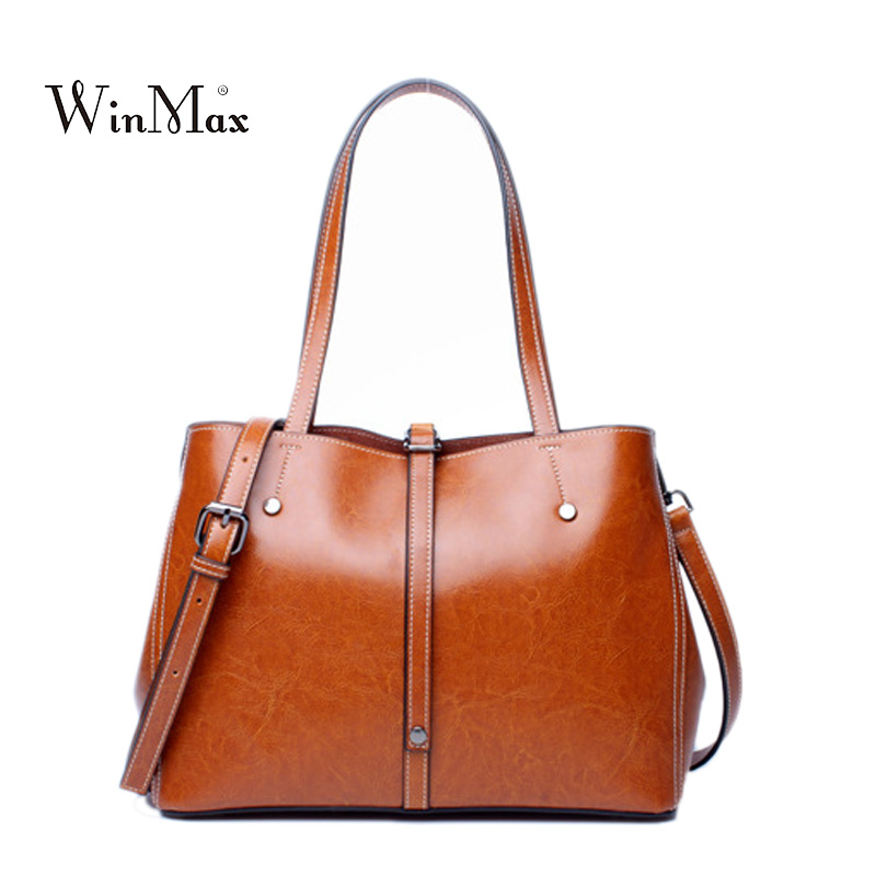 Quality Women Genuine Leather Handbags Shoulder Bag Women Casual Tote Bags Female Cowhide Handbags Sac a Main Ladies Hand Bags women genuine leather handbags ladies personality new head layer cowhide shoulder messenger bags hand rub color female handbags