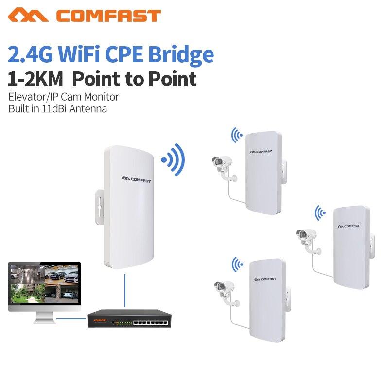 10 pièces DHL 1-3 km longue portée amplificateur Mini sans fil pont wifi routeur répéteur COMFAST 2.4 ghz 300 mbps extérieur CPE pour caméra ip