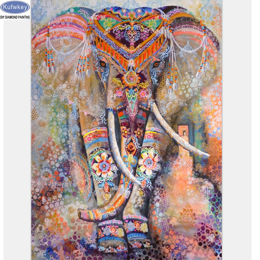 diy 5d diamond painting animal square rhinestones diamond embroidery Abstract elephant cross stitch mosaic pattern full drill