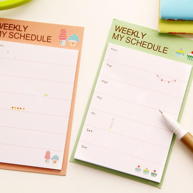 2 piezas gran Memo diaria y semanal plan Pad pegajoso notas papelería Papelaria Escolar escuela cuaderno kawaii papel de oficina papel de regalo