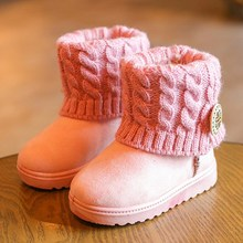 Kids Winter Warm Ankle Boots With Soft Plush Toddler Shoes Knitted & Buckle Decoration Girls Boys Cute Slip On Snow Boot(China)