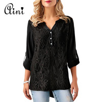 WAQIA 2018 Spring Summer Embroidery Lace Chiffon Blouse Women Tops Fashion Sexy Casual Long Sleeve Ladies