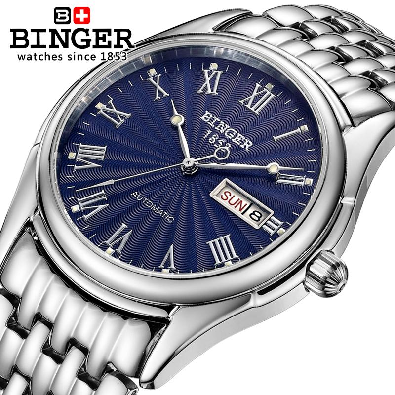 Switzerland watches men luxury brand Wristwatches BINGER luminous Automatic self-wind  full stainless steel Waterproof B106-3 switzerland watches men luxury brand men s watches binger luminous automatic self wind full stainless steel waterproof b5036 10
