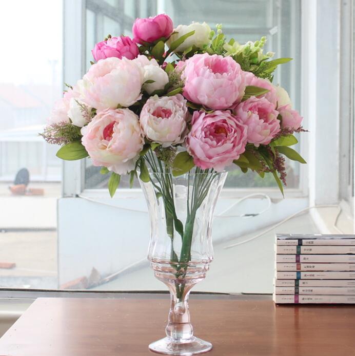 Kytice umělé pivoňka hedvábné květiny falešné listí domů a svatební party dekorace 7 Pivoňka květiny hlavy