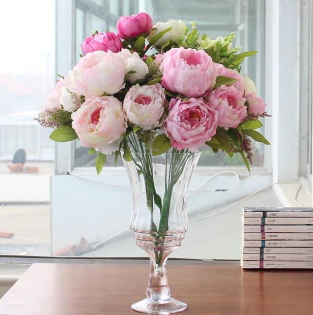 Bouquet Kunstliche Pfingstrose Seidenblumen Fake Blatt Startseite