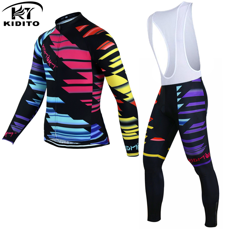 ФОТО KIDITOKT  2017 Long Sleeve Cycling Jersey Suit MTB Bicycle Clothes Maillot Ropa Ciclismo Sportswear Bike Clothing Set For Man