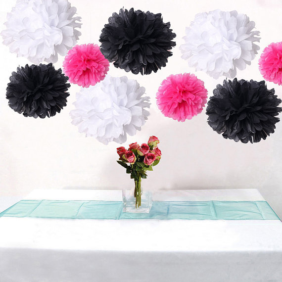 9pcs Mixed Hot Pink Black White Diy Tissue Paper Flower Pom Poms Wedding Birtday Bridal Shower