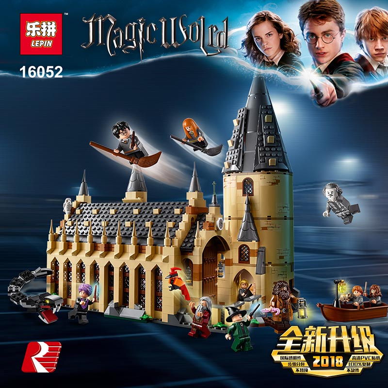 Lepin 16052 Legoing 75954 Harry Potter Series Magic Hogwarts Great Hall Castle Model Blocks Funny Kids boys Toys Christmas Gift