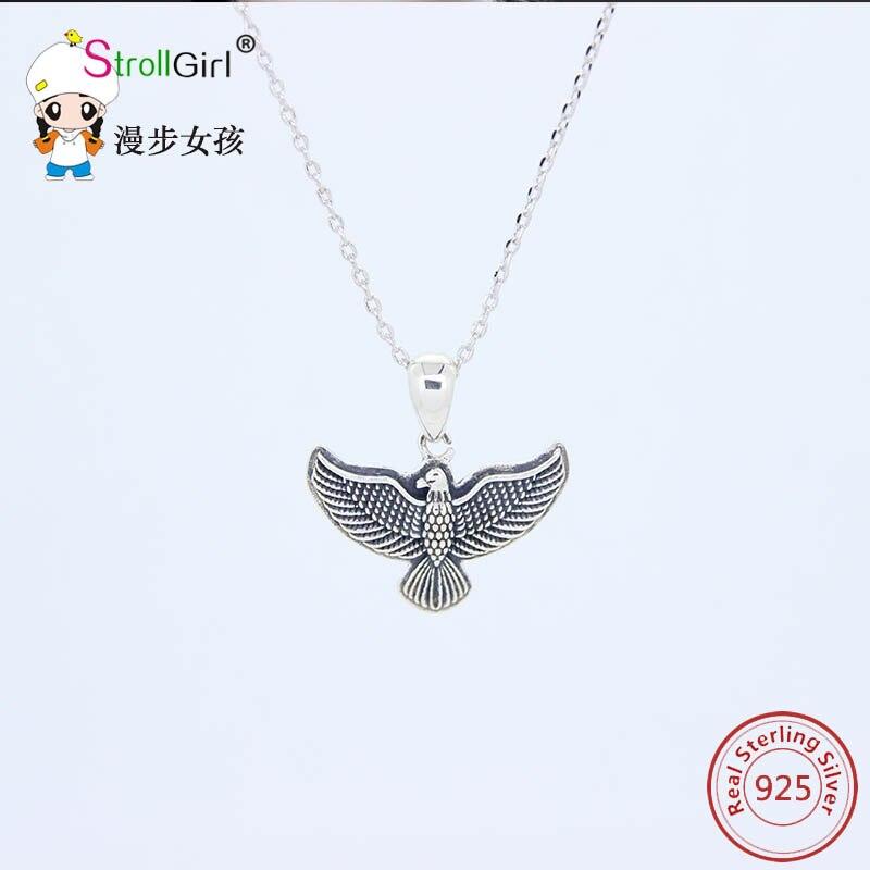 Sterling Silver Womens 1mm Box Chain 3D Eagle Head Open Beak Pendant Necklace
