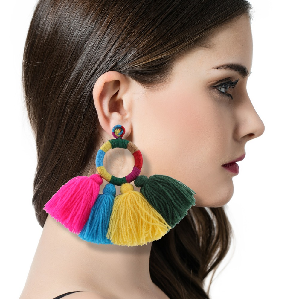 2017 Handmade New Braided Tassel Earrings Fashion Brand Designer Colorful Big Circle Drop Earrings Wedding Woman Bohemia Style