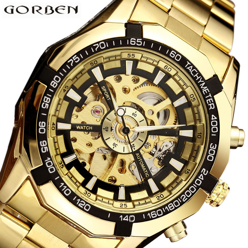 Automatic Mechanical Watch Men Winner Skeleton Watches Gold Bracelet Wristwatch Luxury Brand Mechanical Clock Male Self-winding 2017 black rose gold winner men watch cool mechanical automatic wristwatch stainless steel band male clock skeleton roman dial