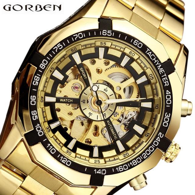 Automatic Mechanical Watch Men Winner Skeleton Watches Gold Bracelet Wristwatch Luxury Brand Mechanical Clock Male Self-winding