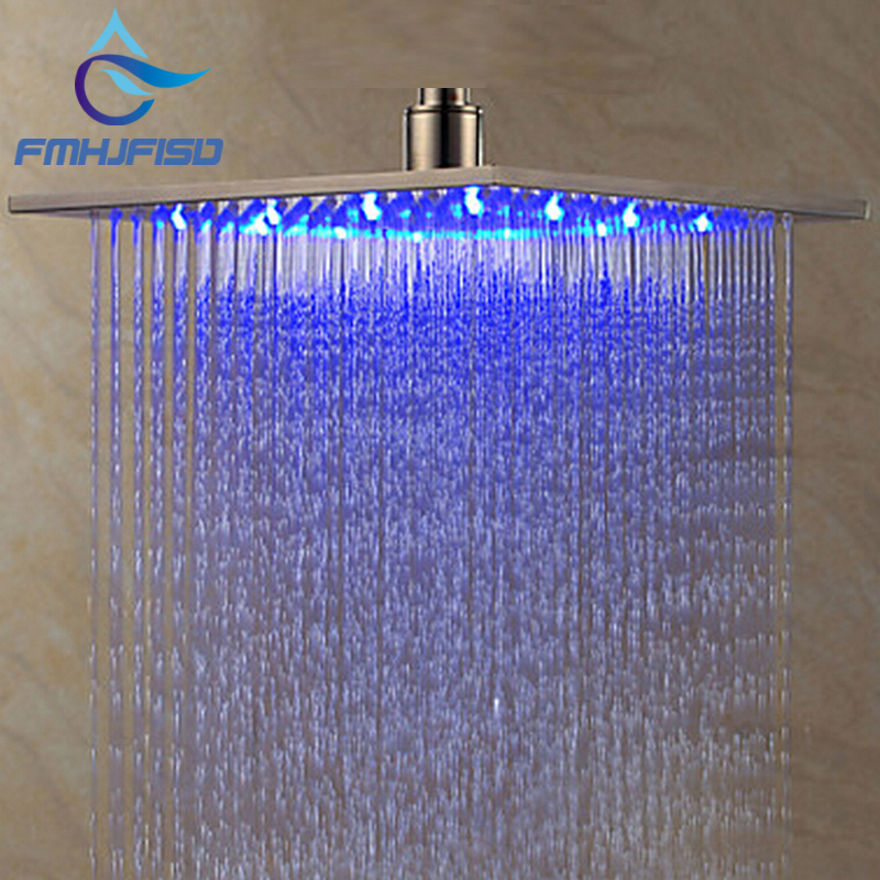 ceiling wall mounted 8 10 12 16 square rain shower head brushed nickel led sprayer. Black Bedroom Furniture Sets. Home Design Ideas