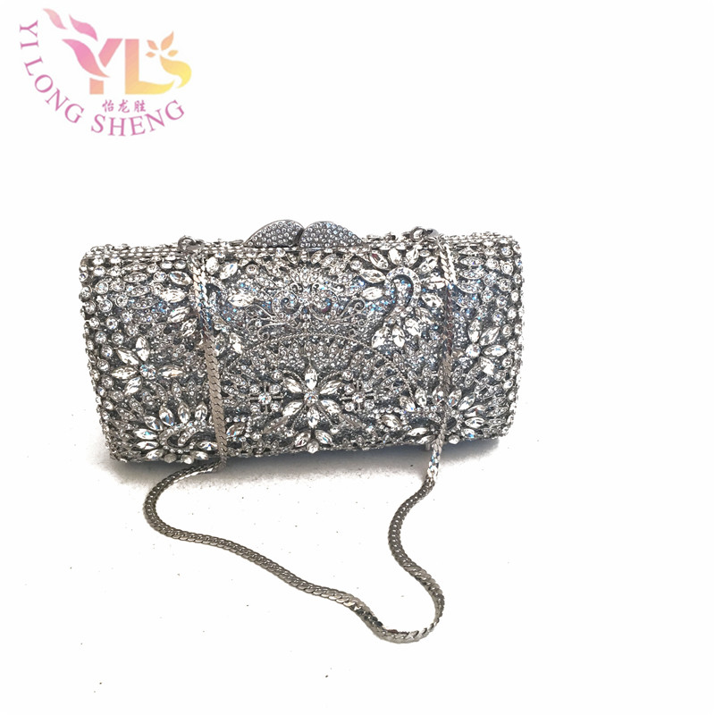 Silver Clutch Bag Crystal Silver Color Handmade HK Crystal Evening Clutch Purse Event Cocktail Bag YLS