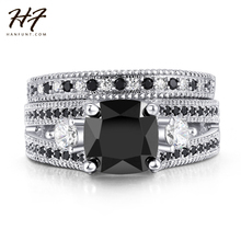 HERFANS Silver Color Black Square Stone Ring Sets Luxury 2 Rounds Fashion Cocktail Party Ring Brand Jewelry For Women  R617