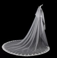 Long 3m Wedding Veils Elegant Bride Wedding Accessories Appliques Edge Long Bridal Veils 2020 In Stock