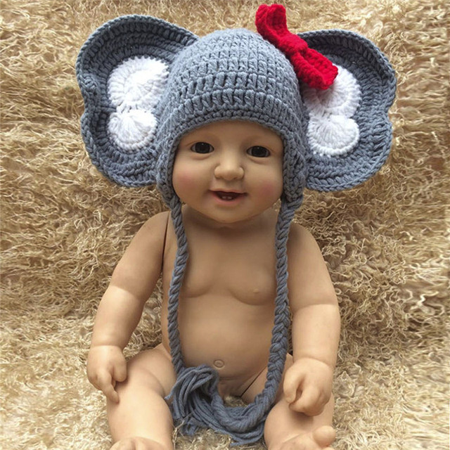 High Quality Cute Newborn Baby Girl Boy Photography Prop Bow Photo Crochet  Knit Elephant Hat Cheap Cap CC  dropship 46e5cbcf1c3