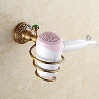 Classic Solid Brass European Bathroom Hardware Hair drier Shelf Carved Ceramic Sanitary Bathroom Accessories Hair drier Holder