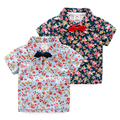 Hot Sale New 2016 summer Children Clothing Brand Fashion flower Printed Bow Tie Kids Clothes Gentleman Boys Shirts for 2-9 Years