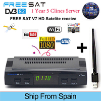 FREESAT V7 HD Receptor DVB S2 Satellite TV Receiver Decoder 1080P With 5 EUROPR Clines CCCAM